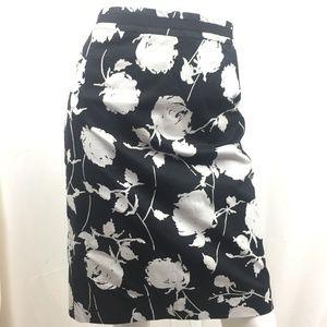 Boden 8R black white floral pencil skirt cotton